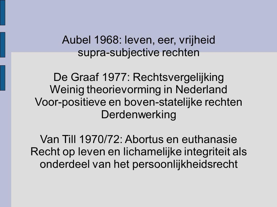 Aubel 1968: leven, eer, vrijheid supra-subjective rechten De Graaf 1977: Rechtsvergelijking Weinig theorievorming in Nederland Voor-positieve en boven