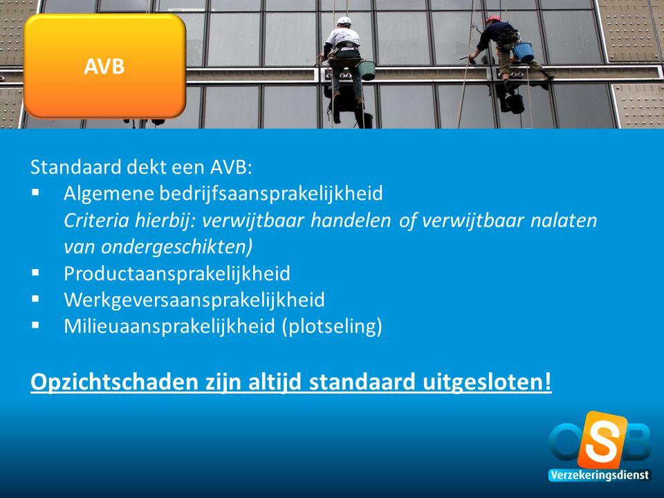 AVB Standaard dekt een AVB:  Algemene bedrijfsaansprakelijkheid Criteria hierbij: verwijtbaar handelen of verwijtbaar nalaten van ondergeschikten) 