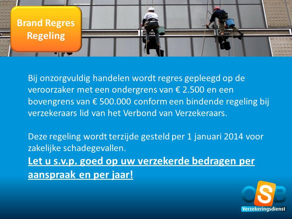 Brand Regres Regeling Bij onzorgvuldig handelen wordt regres gepleegd op de veroorzaker met een ondergrens van € 2.500 en een bovengrens van € 500.000
