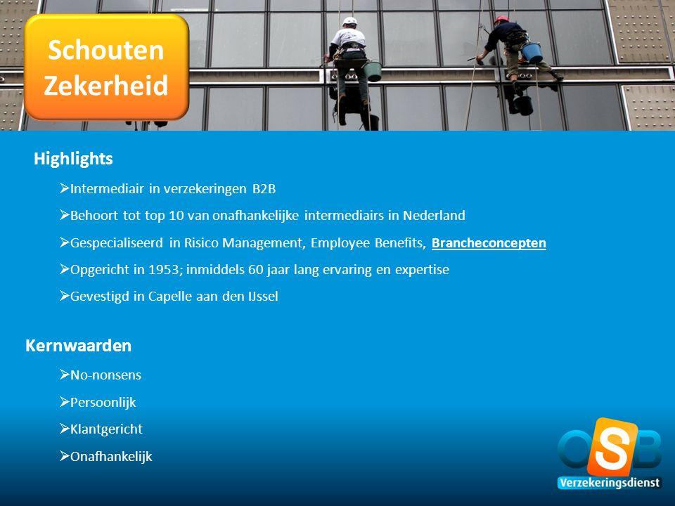 Schouten Zekerheid Highlights  Intermediair in verzekeringen B2B  Behoort tot top 10 van onafhankelijke intermediairs in Nederland  Gespecialiseerd
