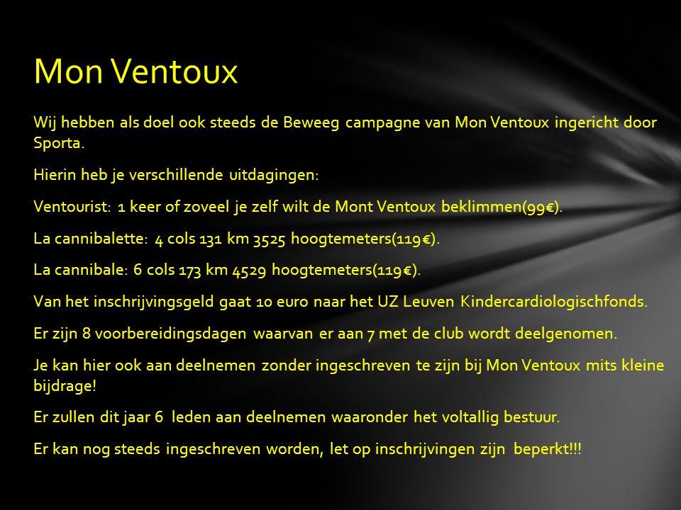 Wij hebben als doel ook steeds de Beweeg campagne van Mon Ventoux ingericht door Sporta. Hierin heb je verschillende uitdagingen: Ventourist: 1 keer o