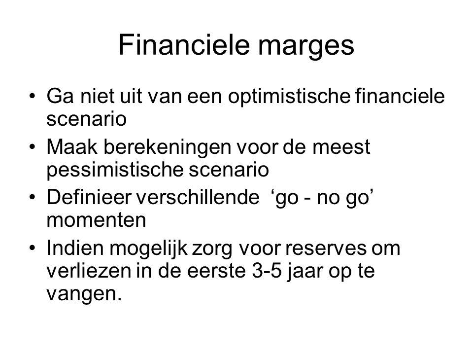 Financiele marges •Ga niet uit van een optimistische financiele scenario •Maak berekeningen voor de meest pessimistische scenario •Definieer verschill
