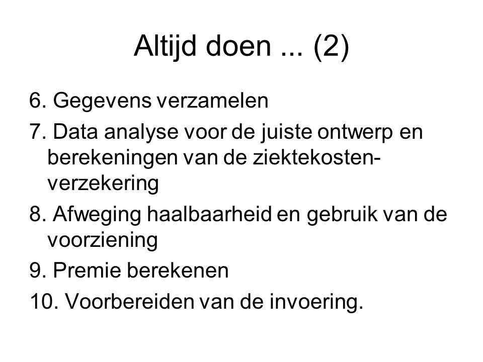 Altijd doen... (2) 6. Gegevens verzamelen 7. Data analyse voor de juiste ontwerp en berekeningen van de ziektekosten- verzekering 8. Afweging haalbaar