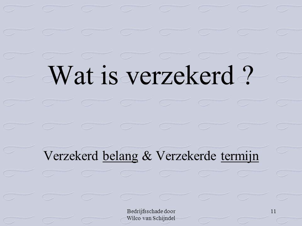 Bedrijfsschade door Wilco van Schijndel 11 Wat is verzekerd ? Verzekerd belang & Verzekerde termijn