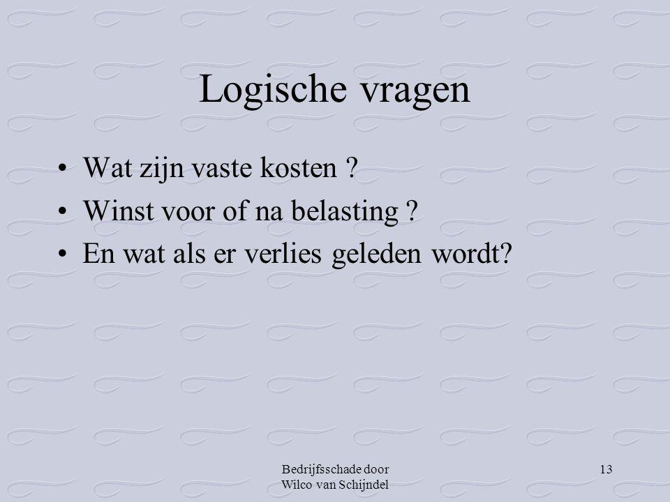 Bedrijfsschade door Wilco van Schijndel 13 Logische vragen •Wat zijn vaste kosten ? •Winst voor of na belasting ? •En wat als er verlies geleden wordt