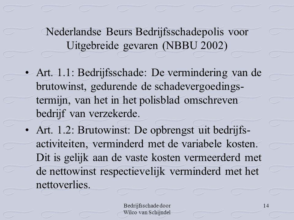 Bedrijfsschade door Wilco van Schijndel 14 Nederlandse Beurs Bedrijfsschadepolis voor Uitgebreide gevaren (NBBU 2002) •Art. 1.1: Bedrijfsschade: De ve
