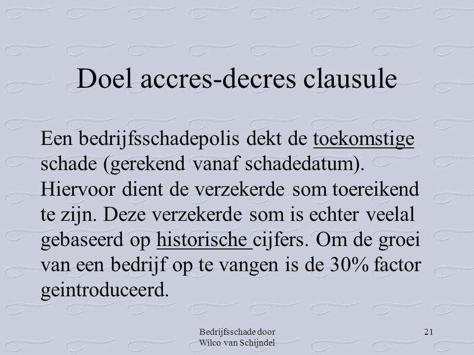 Bedrijfsschade door Wilco van Schijndel 21 Doel accres-decres clausule Een bedrijfsschadepolis dekt de toekomstige schade (gerekend vanaf schadedatum)