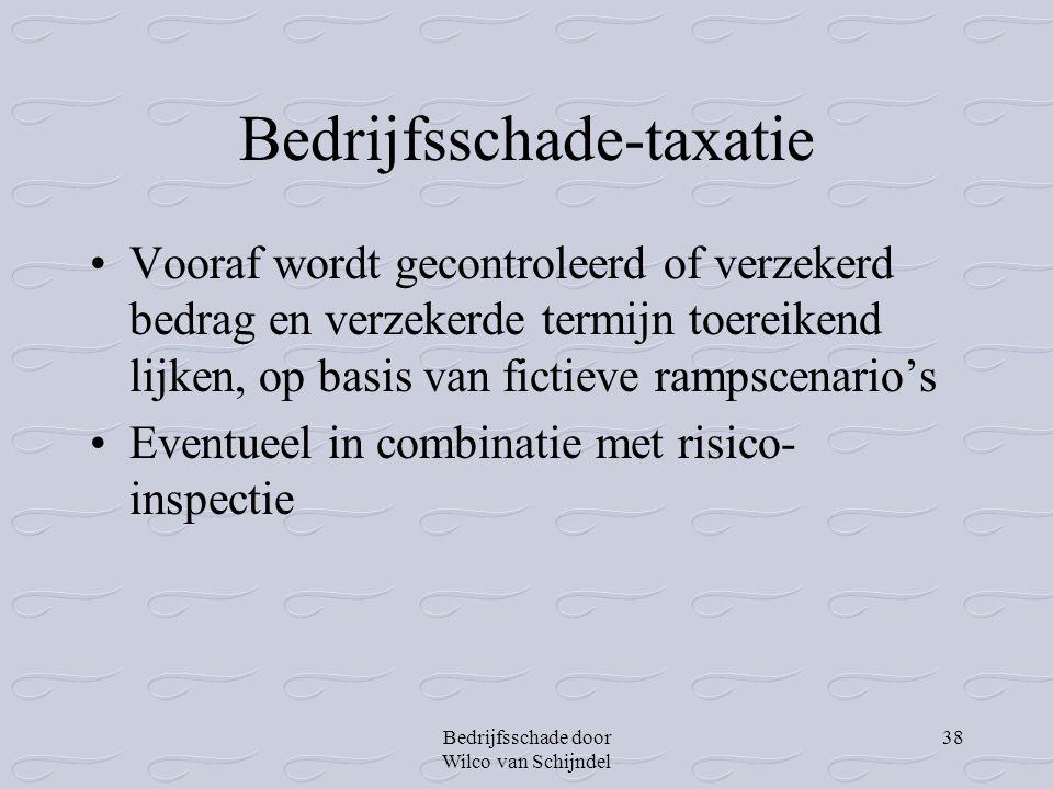 Bedrijfsschade door Wilco van Schijndel 38 Bedrijfsschade-taxatie •Vooraf wordt gecontroleerd of verzekerd bedrag en verzekerde termijn toereikend lij