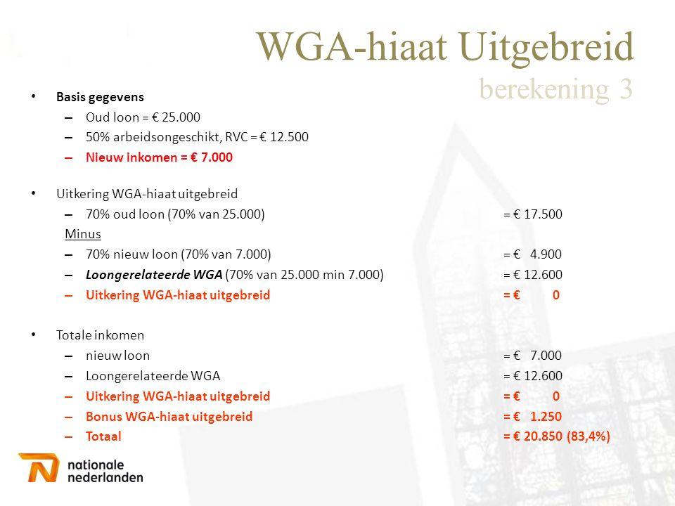 WGA-hiaat Uitgebreid berekening 3 • Basis gegevens – Oud loon = € 25.000 – 50% arbeidsongeschikt, RVC = € 12.500 – Nieuw inkomen = € 7.000 • Uitkering