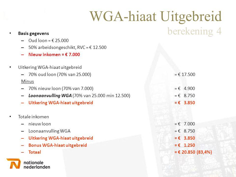 WGA-hiaat Uitgebreid berekening 4 • Basis gegevens – Oud loon = € 25.000 – 50% arbeidsongeschikt, RVC = € 12.500 – Nieuw inkomen = € 7.000 • Uitkering