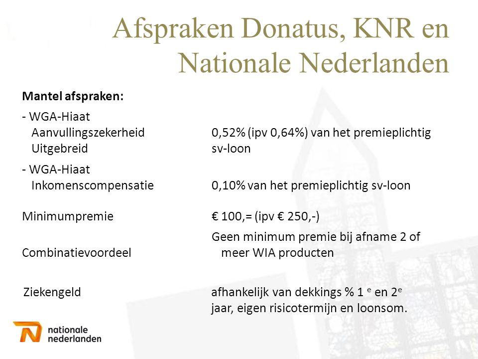 Afspraken Donatus, KNR en Nationale Nederlanden Mantel afspraken: - WGA-Hiaat Aanvullingszekerheid Uitgebreid 0,52% (ipv 0,64%) van het premieplichtig