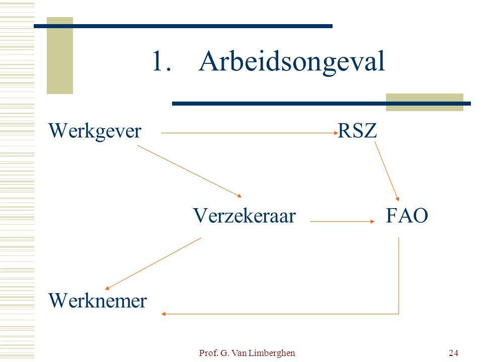 Prof. G. Van Limberghen24 1.Arbeidsongeval WerkgeverRSZ VerzekeraarFAO Werknemer