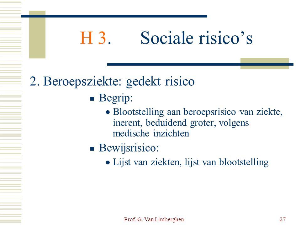 Prof. G. Van Limberghen27 H 3.Sociale risico's 2. Beroepsziekte: gedekt risico  Begrip:  Blootstelling aan beroepsrisico van ziekte, inerent, beduid