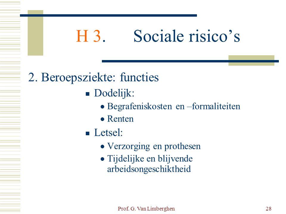 Prof. G. Van Limberghen28 H 3.Sociale risico's 2. Beroepsziekte: functies  Dodelijk:  Begrafeniskosten en –formaliteiten  Renten  Letsel:  Verzor