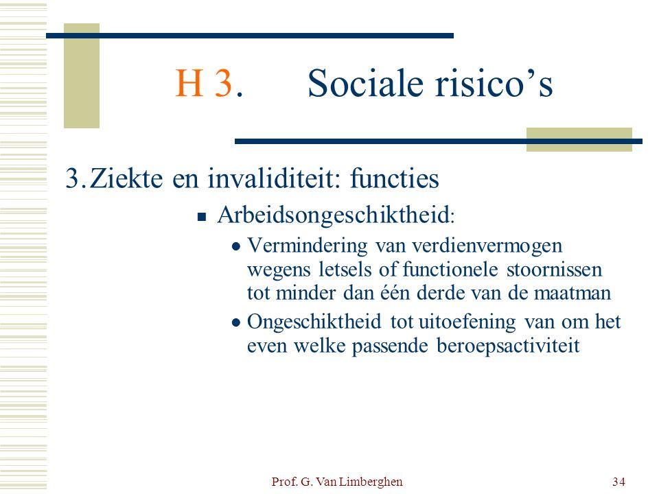 Prof. G. Van Limberghen34 H 3.Sociale risico's 3.Ziekte en invaliditeit: functies  Arbeidsongeschiktheid :  Vermindering van verdienvermogen wegens