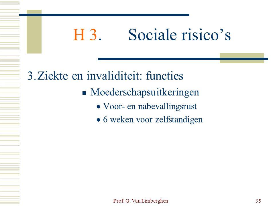 Prof. G. Van Limberghen35 H 3.Sociale risico's 3.Ziekte en invaliditeit: functies  Moederschapsuitkeringen  Voor- en nabevallingsrust  6 weken voor