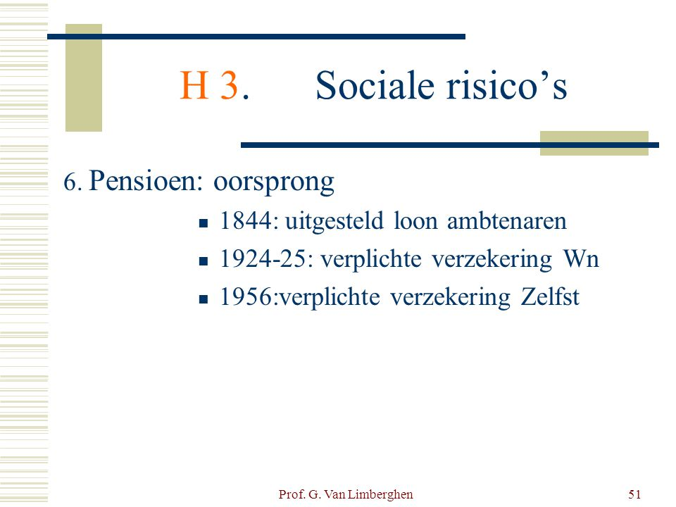 Prof. G. Van Limberghen51 H 3.Sociale risico's 6. Pensioen: oorsprong  1844: uitgesteld loon ambtenaren  1924-25: verplichte verzekering Wn  1956:v