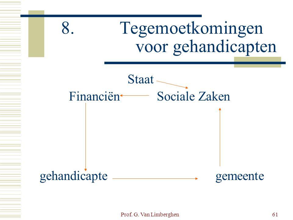 Prof. G. Van Limberghen61 8.Tegemoetkomingen voor gehandicapten Staat FinanciënSociale Zaken gehandicaptegemeente