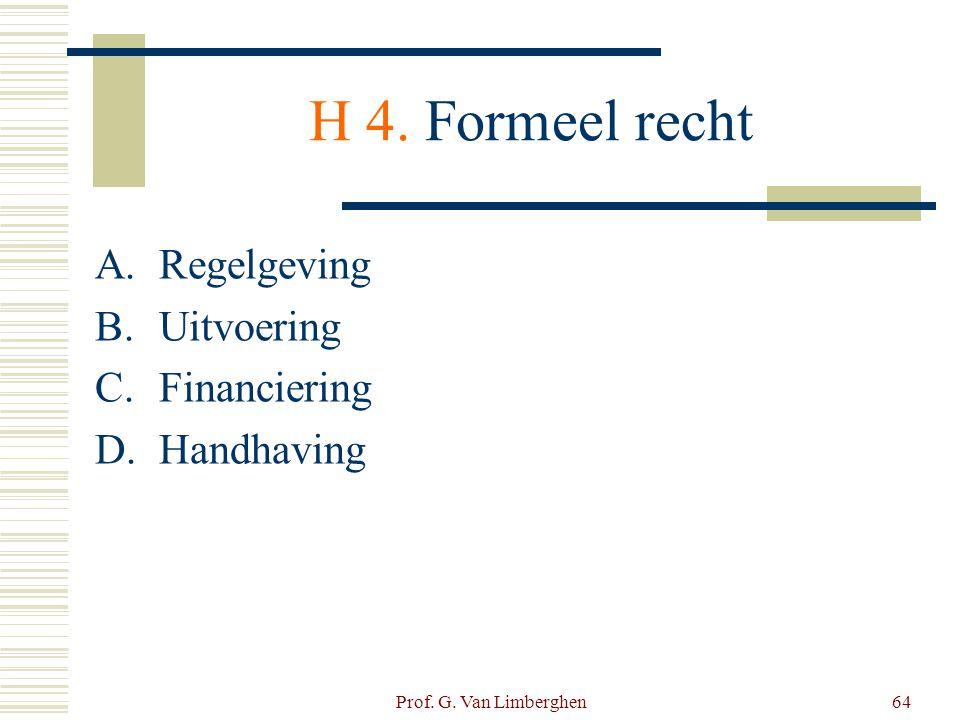 Prof. G. Van Limberghen64 H 4. Formeel recht A.Regelgeving B.Uitvoering C.Financiering D.Handhaving