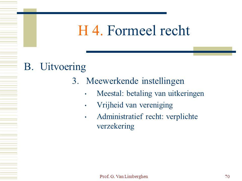 Prof. G. Van Limberghen70 H 4. Formeel recht B.Uitvoering 3.Meewerkende instellingen • Meestal: betaling van uitkeringen • Vrijheid van vereniging • A