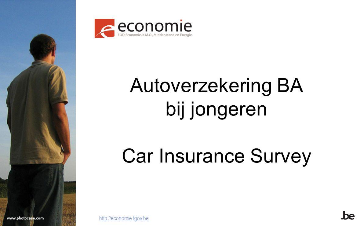 Autoverzekering BA bij jongeren Car Insurance Survey http://economie.fgov.be