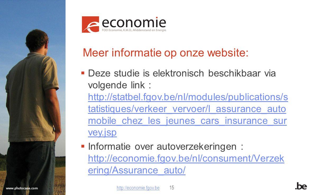Meer informatie op onze website:  Deze studie is elektronisch beschikbaar via volgende link : http://statbel.fgov.be/nl/modules/publications/s tatistiques/verkeer_vervoer/l_assurance_auto mobile_chez_les_jeunes_cars_insurance_sur vey.jsp http://statbel.fgov.be/nl/modules/publications/s tatistiques/verkeer_vervoer/l_assurance_auto mobile_chez_les_jeunes_cars_insurance_sur vey.jsp  Informatie over autoverzekeringen : http://economie.fgov.be/nl/consument/Verzek ering/Assurance_auto/ http://economie.fgov.be/nl/consument/Verzek ering/Assurance_auto/ http://economie.fgov.behttp://economie.fgov.be15