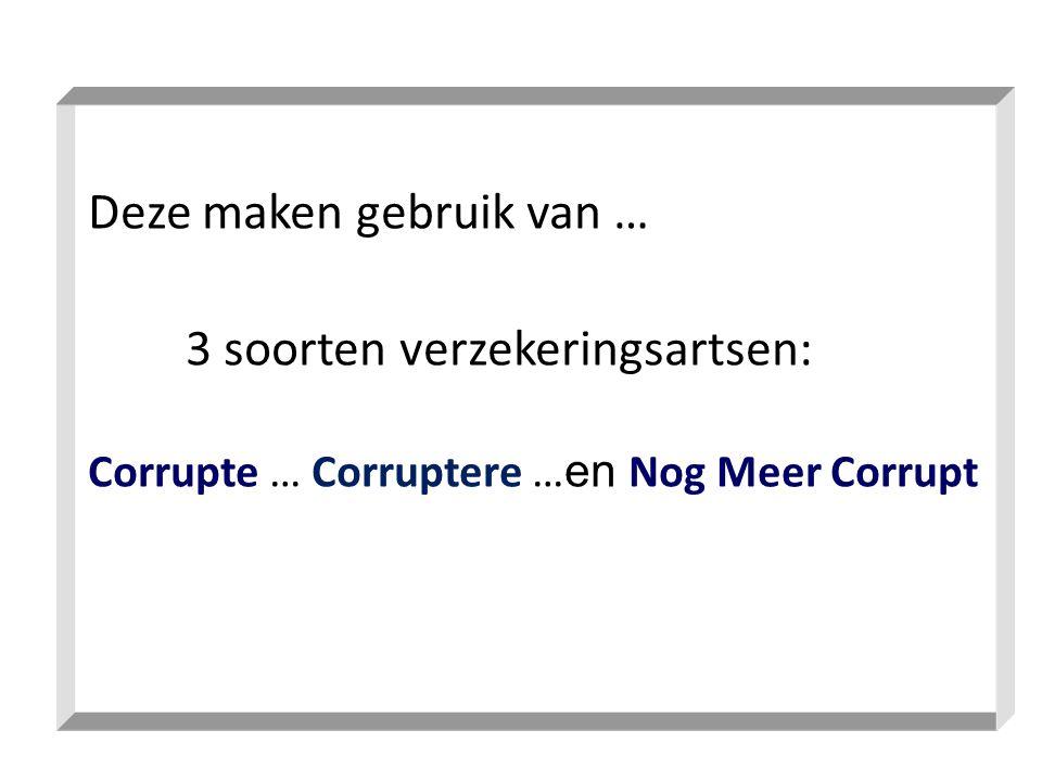 Deze maken gebruik van … 3 soorten verzekeringsartsen: Corrupte … Corruptere … en Nog Meer Corrupt