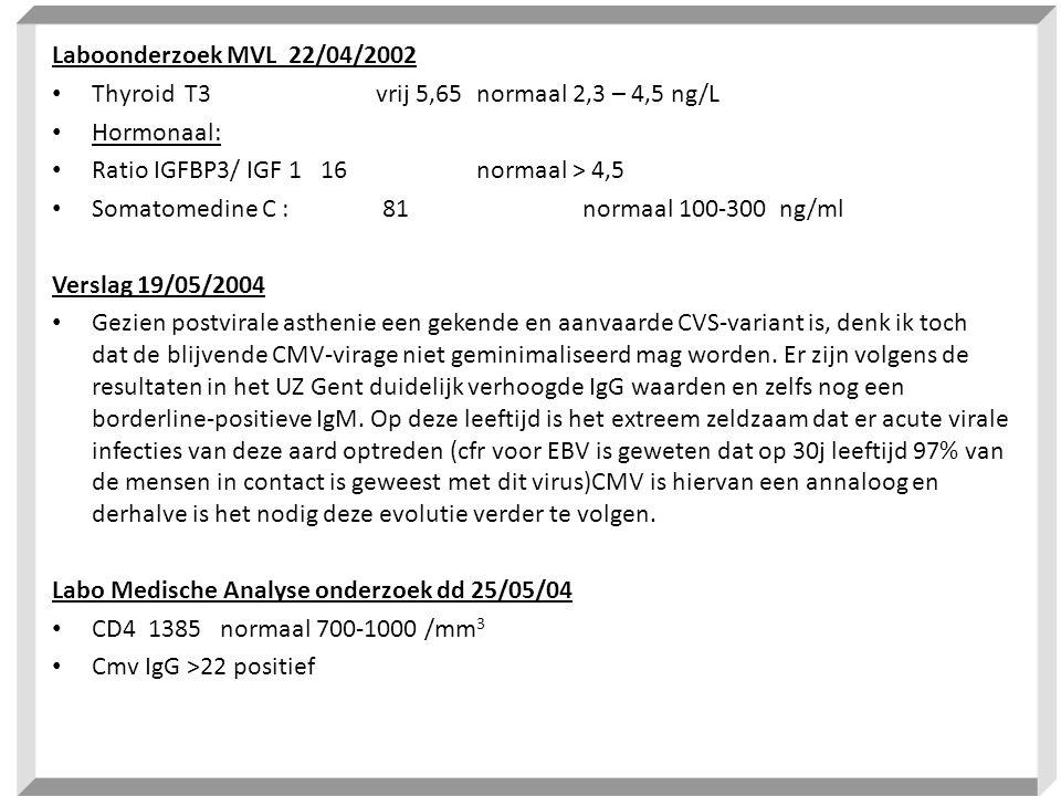 Laboonderzoek MVL 22/04/2002 • Thyroid T3 vrij 5,65 normaal 2,3 – 4,5 ng/L • Hormonaal: • Ratio IGFBP3/ IGF 1 16 normaal > 4,5 • Somatomedine C : 81 n