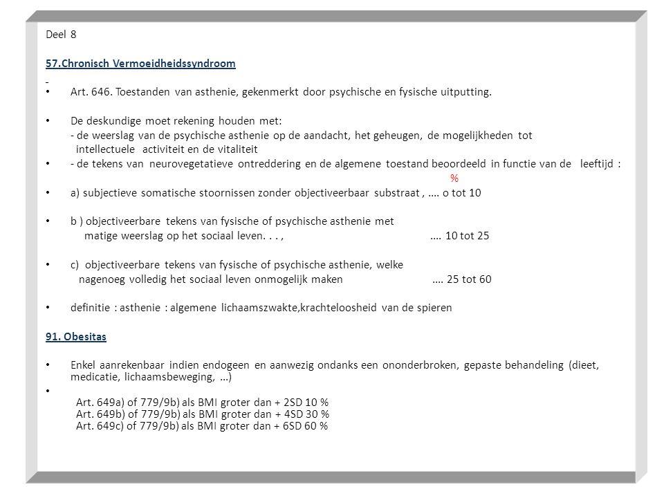 Deel 8 57.Chronisch Vermoeidheidssyndroom • Art. 646. Toestanden van asthenie, gekenmerkt door psychische en fysische uitputting. • De deskundige moet
