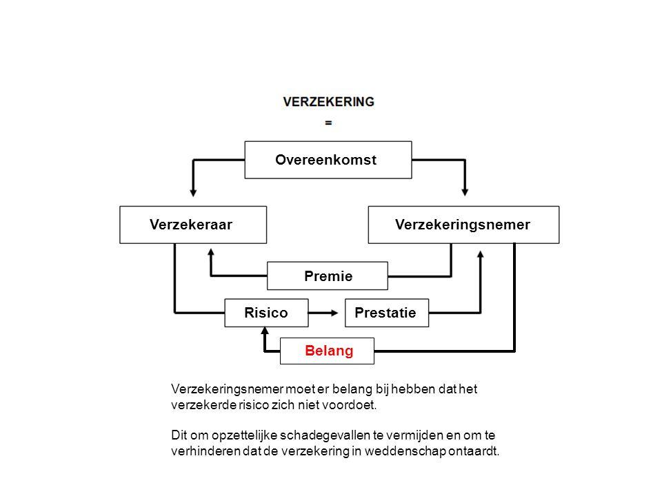 Verzekeringsnemer Overeenkomst Verzekeraar Premie RisicoPrestatie Verzekeringsnemer moet er belang bij hebben dat het verzekerde risico zich niet voordoet.