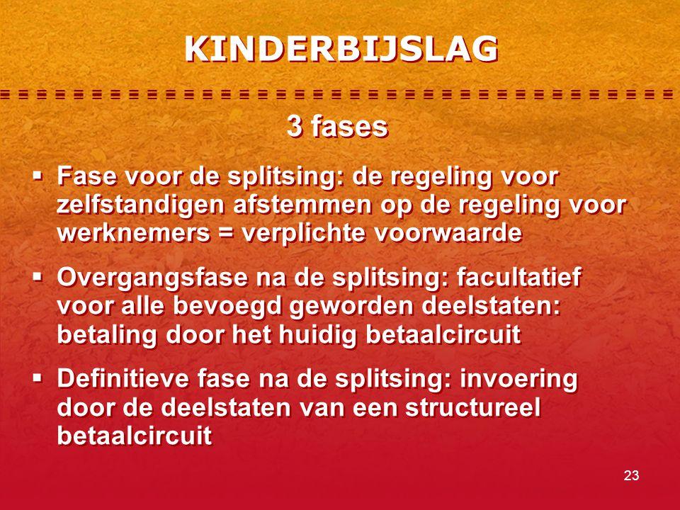 23 KINDERBIJSLAG 3 fases  Fase voor de splitsing: de regeling voor zelfstandigen afstemmen op de regeling voor werknemers = verplichte voorwaarde  O