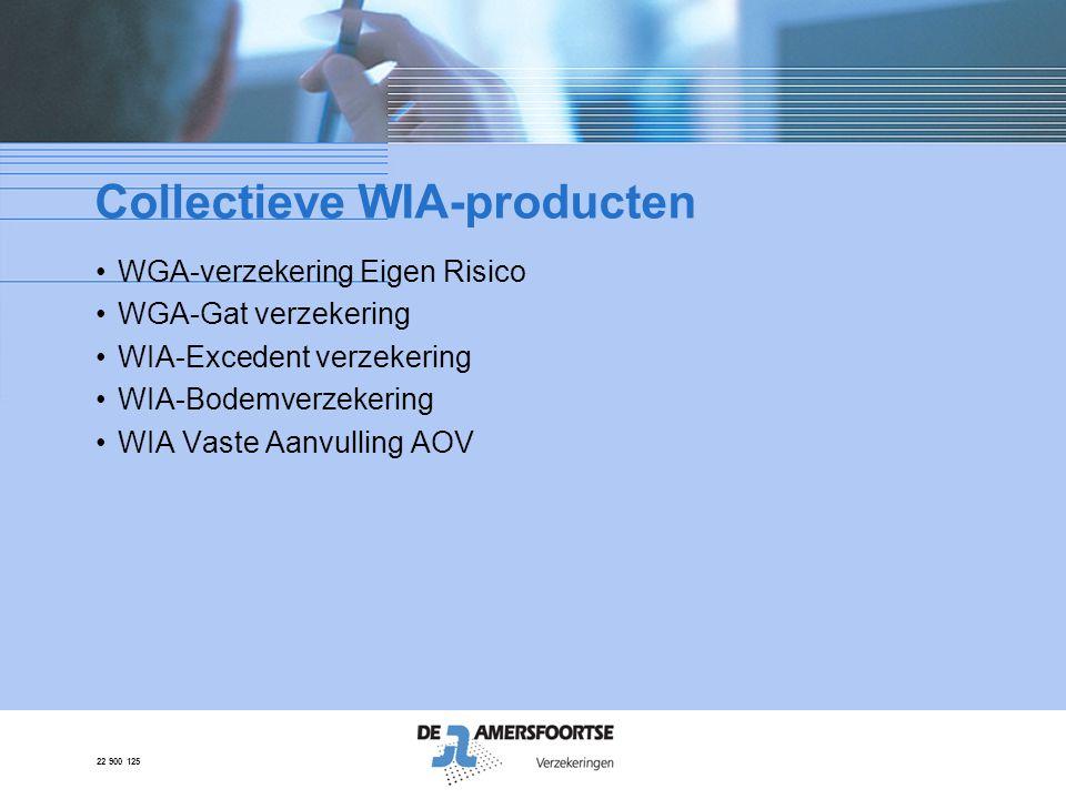 22 900 125 Collectieve WIA-producten •WGA-verzekering Eigen Risico •WGA-Gat verzekering •WIA-Excedent verzekering •WIA-Bodemverzekering •WIA Vaste Aan