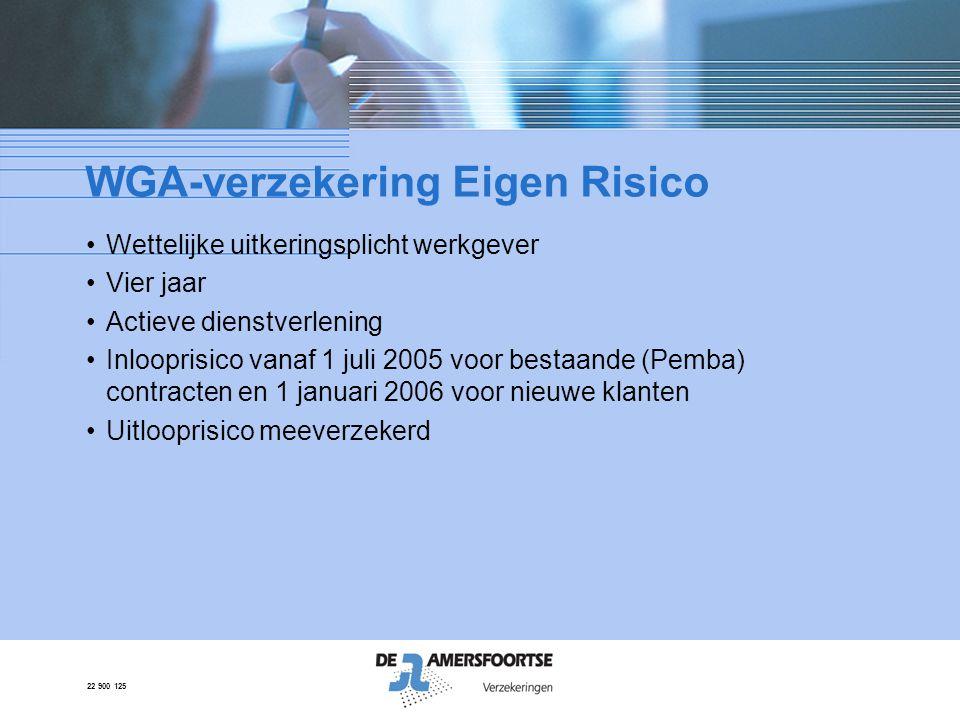 22 900 125 WGA-verzekering Eigen Risico •Wettelijke uitkeringsplicht werkgever •Vier jaar •Actieve dienstverlening •Inlooprisico vanaf 1 juli 2005 voo