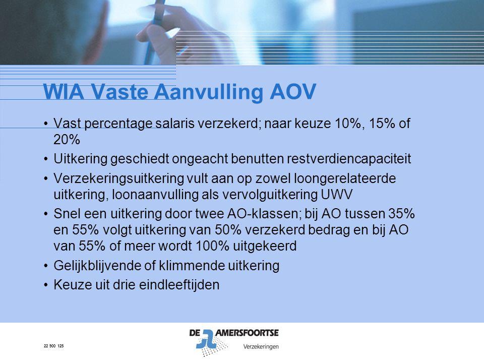 22 900 125 WIA Vaste Aanvulling AOV •Vast percentage salaris verzekerd; naar keuze 10%, 15% of 20% •Uitkering geschiedt ongeacht benutten restverdienc