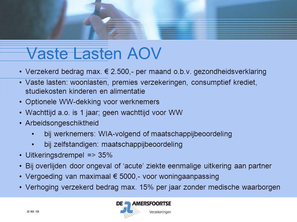 22 900 125 Vaste Lasten AOV •Verzekerd bedrag max. € 2.500,- per maand o.b.v. gezondheidsverklaring •Vaste lasten: woonlasten, premies verzekeringen,