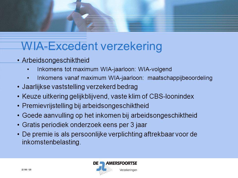 22 900 125 WIA-Excedent verzekering •Arbeidsongeschiktheid •Inkomens tot maximum WIA-jaarloon: WIA-volgend •Inkomens vanaf maximum WIA-jaarloon: maats