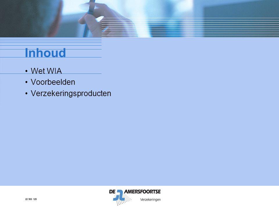 22 900 125 WIA: de nieuwe WAO •Wet Werk en Inkomen naar Arbeidsvermogen •Vanaf 1 januari 2006 •Na twee jaar ziekte keuring door UWV •Drie categorieën: - volledig en duurzaam a.o.