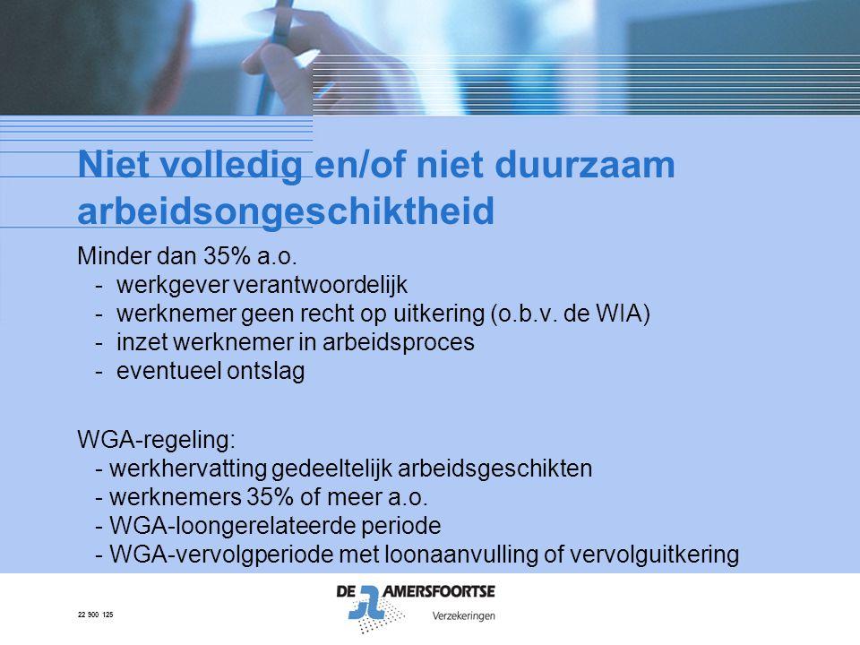 22 900 125 Niet volledig en/of niet duurzaam arbeidsongeschiktheid Minder dan 35% a.o. - werkgever verantwoordelijk - werknemer geen recht op uitkerin
