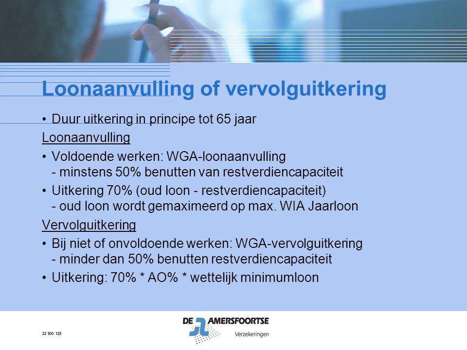 22 900 125 Rekenvoorbeeld WGA uitkering Inkomen werknemer € 40.000,- Restverdiencapaciteit: € 20.000,- Arbeidsongeschiktheid:50% Max.