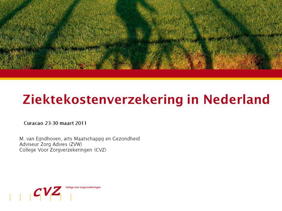 Spreker | Plaats | datum Ziektekostenverzekering in Nederland Curacao 23-30 maart 2011 M. van Eijndhoven, arts Maatschappij en Gezondheid Adviseur Zor