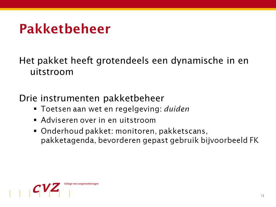 12 Pakketbeheer Het pakket heeft grotendeels een dynamische in en uitstroom Drie instrumenten pakketbeheer  Toetsen aan wet en regelgeving: duiden 