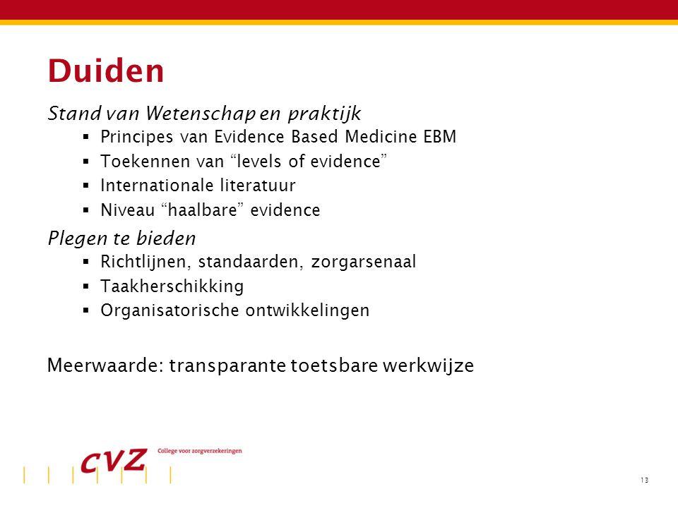 """13 Duiden Stand van Wetenschap en praktijk  Principes van Evidence Based Medicine EBM  Toekennen van """"levels of evidence""""  Internationale literatuu"""