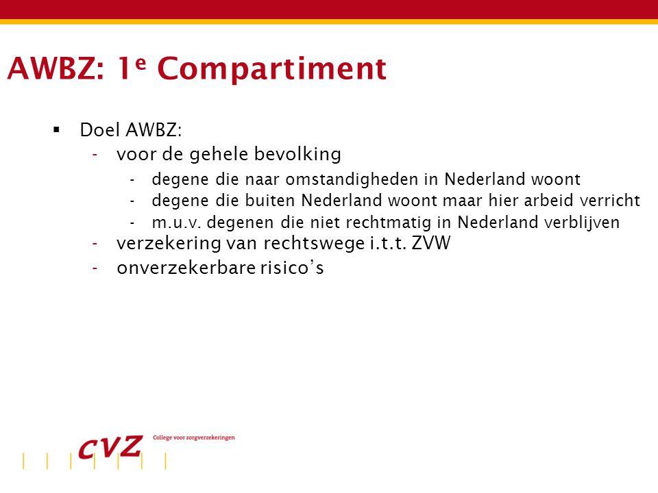 AWBZ: 1 e Compartiment  Doel AWBZ: -voor de gehele bevolking -degene die naar omstandigheden in Nederland woont -degene die buiten Nederland woont maar hier arbeid verricht -m.u.v.