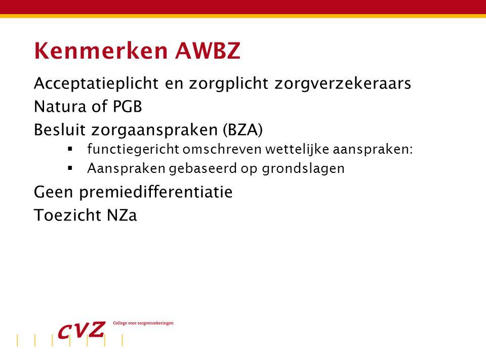 Kenmerken AWBZ Acceptatieplicht en zorgplicht zorgverzekeraars Natura of PGB Besluit zorgaanspraken (BZA)  functiegericht omschreven wettelijke aanspraken:  Aanspraken gebaseerd op grondslagen Geen premiedifferentiatie Toezicht NZa