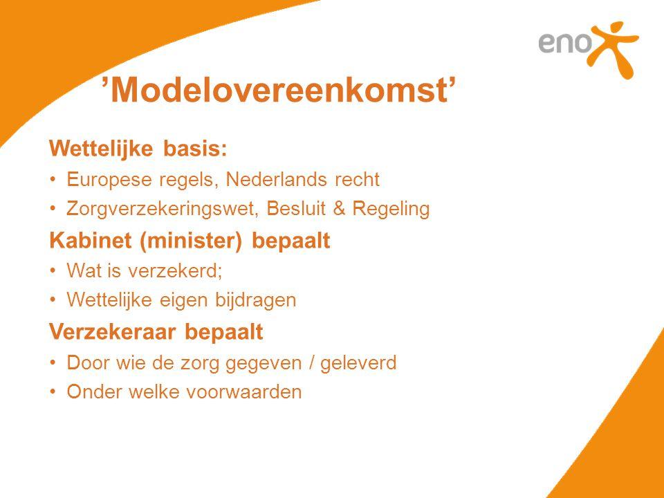 Wettelijke basis: •Europese regels, Nederlands recht •Zorgverzekeringswet, Besluit & Regeling Kabinet (minister) bepaalt •Wat is verzekerd; •Wettelijk