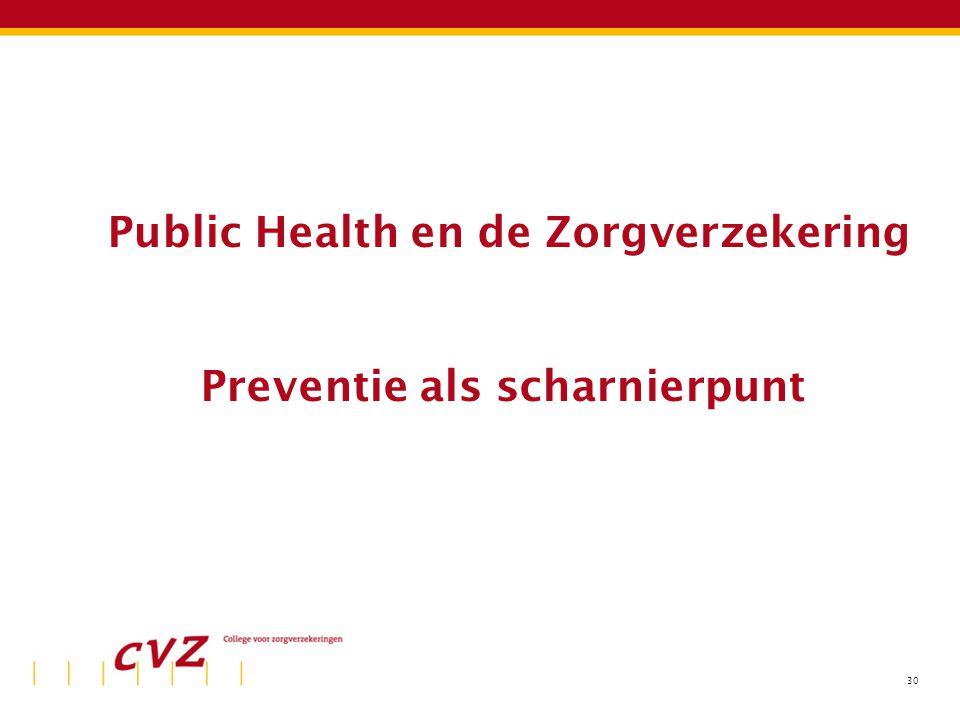 30 Public Health en de Zorgverzekering Preventie als scharnierpunt