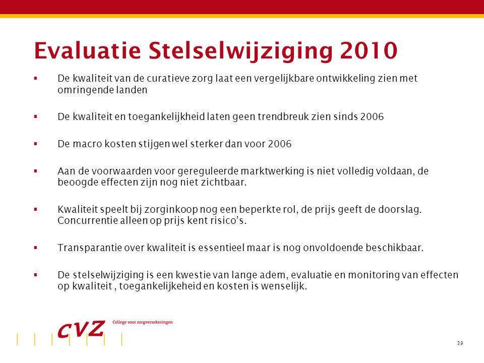 Evaluatie Stelselwijziging 2010  De kwaliteit van de curatieve zorg laat een vergelijkbare ontwikkeling zien met omringende landen  De kwaliteit en