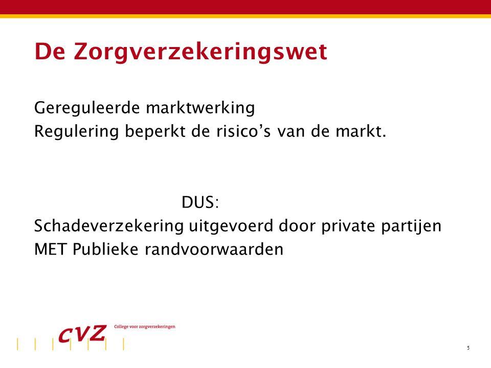 5 De Zorgverzekeringswet Gereguleerde marktwerking Regulering beperkt de risico's van de markt. DUS: Schadeverzekering uitgevoerd door private partije