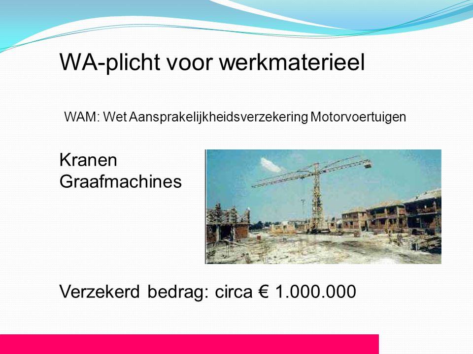 WA-plicht voor werkmaterieel WAM: Wet Aansprakelijkheidsverzekering Motorvoertuigen Kranen Graafmachines Verzekerd bedrag: circa € 1.000.000