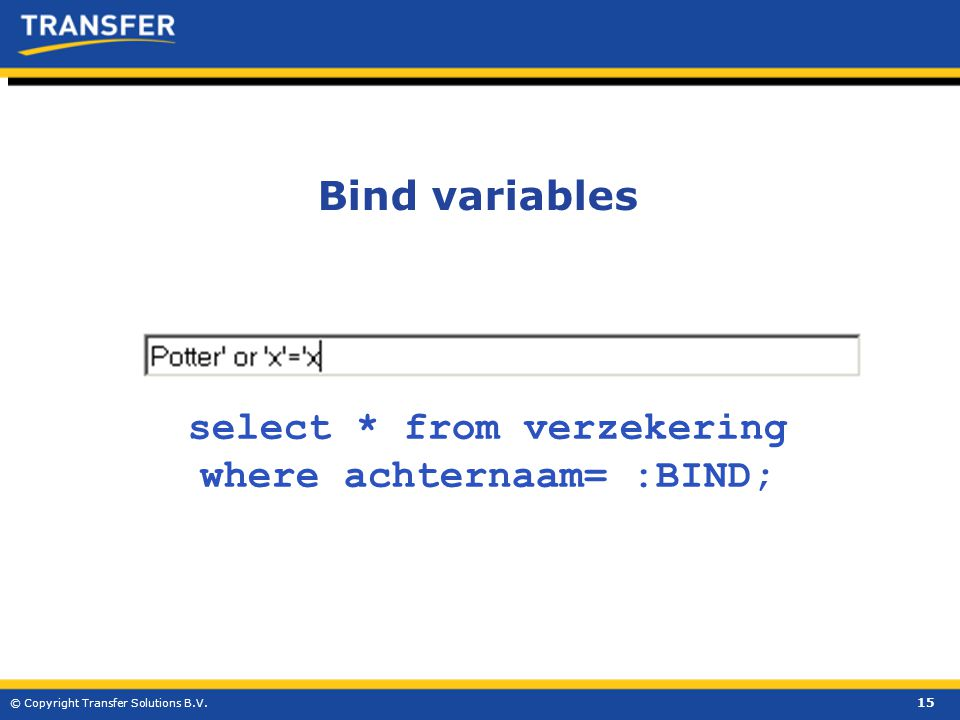 15 © Copyright Transfer Solutions B.V. select * from verzekering where achternaam= :BIND; Bind variables